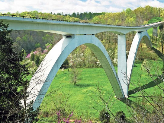 The parkway's double-arched bridge at Birdsong Hollow