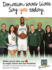 A new organ donation campaign launching at a dozen Wisconsin Department of Motor Vehicles service centers in April features members of the Milwaukee Bucks.