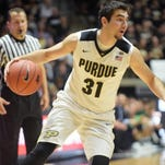 Purdue's Dakota Mathias looks to drive the ball during a 107-79 victory over Vermont on November 15th, 2015 at Mackey Arena.