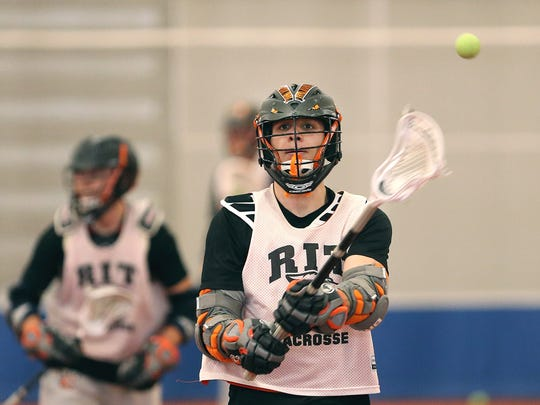 Kyle Sterzin is forced to miss about half of RIT's practice time due to his demanding class schedule.