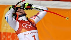 Lindsey Vonn (USA) reacts after competing in the alpine