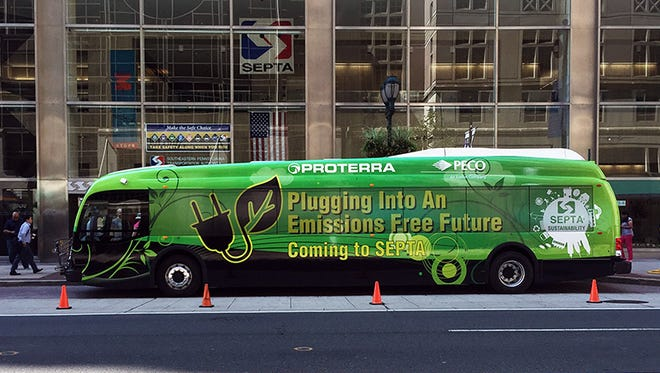 A 40-foot Catalyst bus made by Proterra in Greenville is parked at the headquarters of the Southeastern Pennsylvania Transit Authority in downtown Philadelphia.