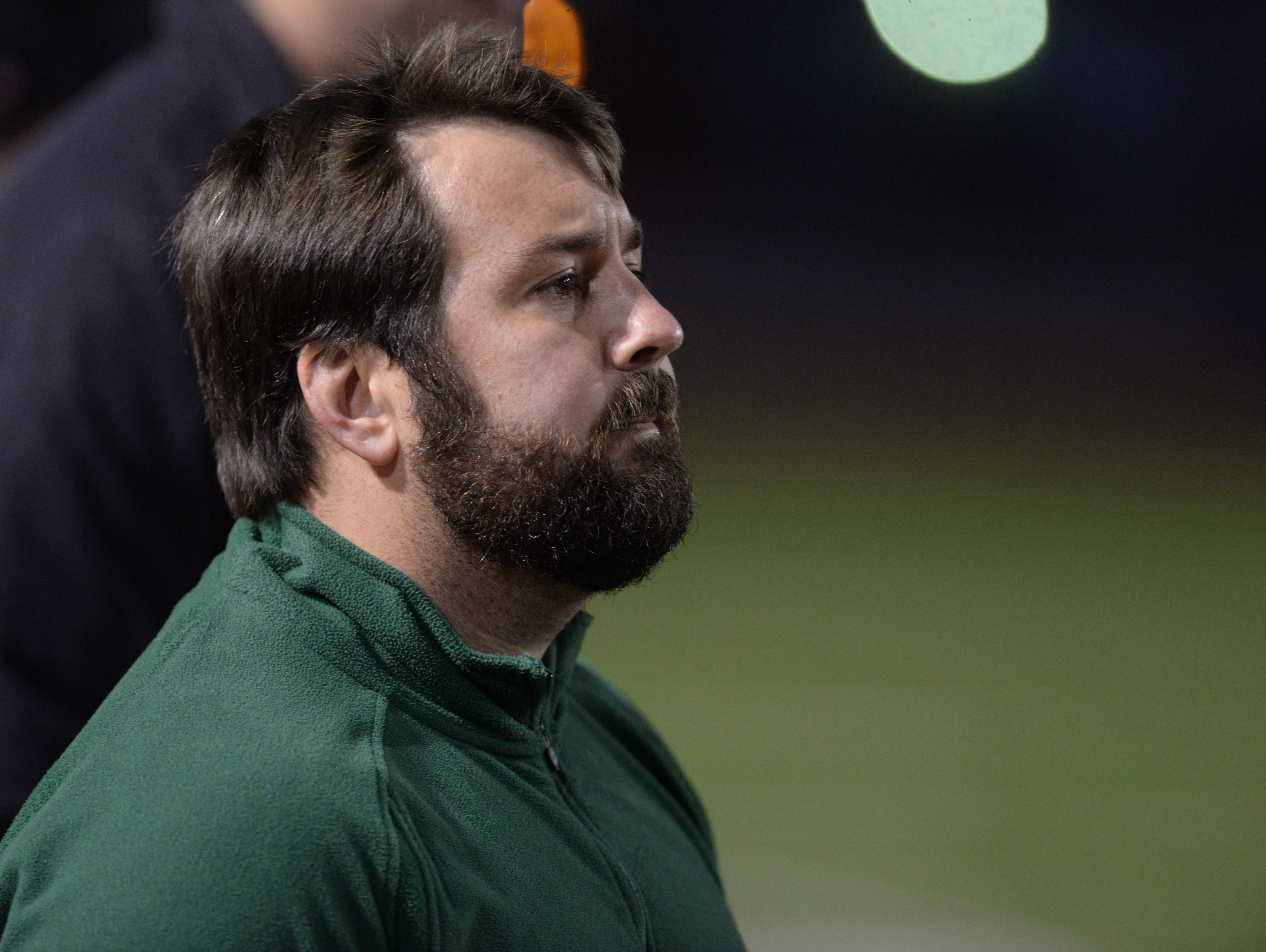 Captian Shreve's head coach Stephen Slack watches his team take on Fontainebleau in a 2015 playoff game.