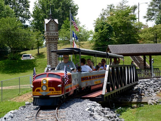 Passengers aboard the Gypsy Hill Express on Sunday,
