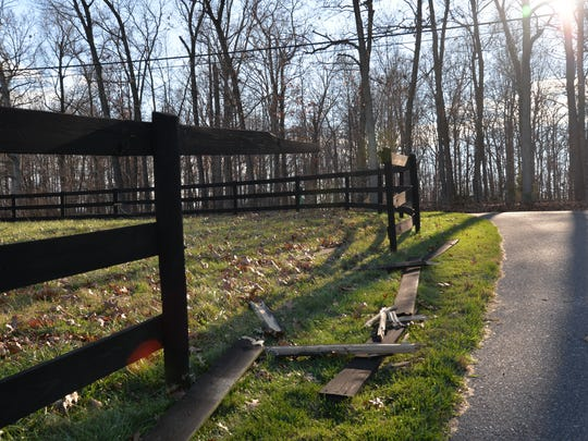 The portion of the Liskey family's fence in Weyers Cave where a car drove through on Saturday, Nov. 21, 2015.