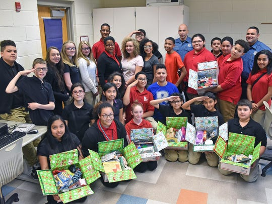 Wallace Intermediate School students packed boxes for
