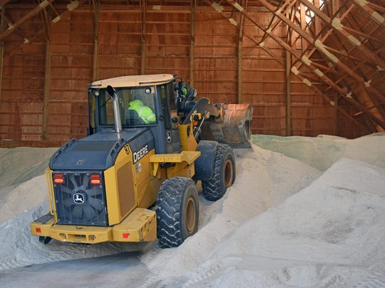 The Vineland Public Works preparing for the snow storm loading up the salt house.  Jan. 21, 2016