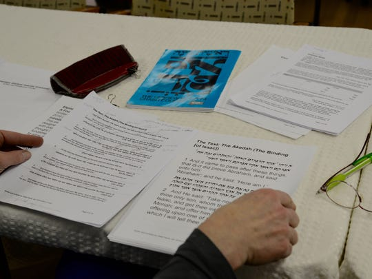 Penelope Ferguson goes over verses for the elementary biblical Hebrew grammar course at the Temple House of Israel in Staunton on Sunday, Feb. 14, 2016.
