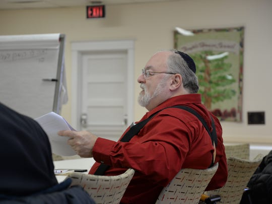Rabbi Joe Blair at the elementary biblical Hebrew grammar course at the Temple House of Israel in Staunton on Sunday, Feb. 14, 2016.