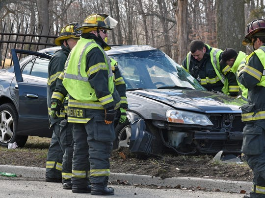 A vehicle smashed into the side of Oak Hill Cemetery