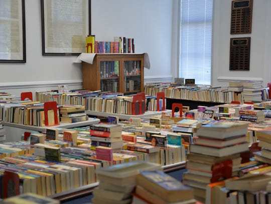 Volunteers gear up for the biannual book sale at the Staunton Public Library.
