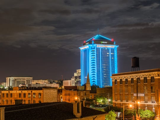 The RSA building is illuminated in downtown Montgomery on April 20, 2016. LaNessa Howard, Sexual Assault Response Coordinator, coordinated with the building administrators to illuminate the structure teal for Sexual Assault Awareness Month.