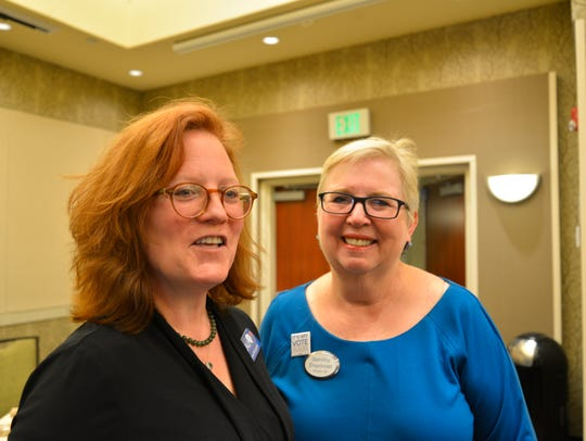 From left, AAUW president-elect Lysa McCarroll and