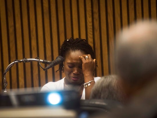 Witness Latoya Samuels-Mattis talks Thursday about how her son is the same age as Xavier Strickland, who was mauled by pit bulls. She was on the stand during the trial of Geneke Antonio Lyons, charged in the death of the 4-year-old boy who was dragged under a gate and mauled to death by pit bulls on Detroit property owned by Lyons in December 2015 .
