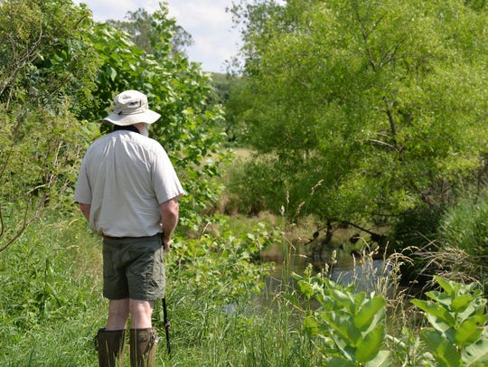 A visitor looks at the Middle River on Jeanne Hoffman's