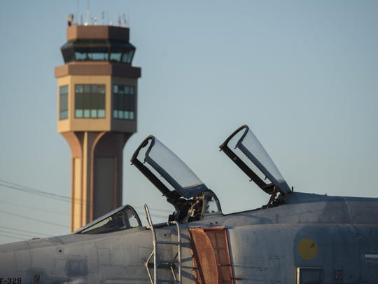 A QF-4 Phantom is parked on the flight line at Holloman Air Force Base on Aug. 17. The QF-4 mission flew its final unmanned mission Aug. 17. The QF-4s here will continue flying manned missions until the official end of the QF-4 program in December 2016.
