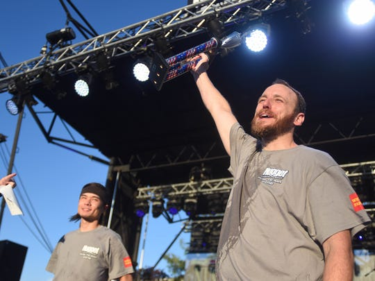 Joey Chestnut won his ninth title at the Nugget World Rib-Eating Championship on Wednesday. He beat Matt Stonie by eating 9.6 pounds of ribs in 12 minutes at the Best in the West Nugget Rib Cook-Off.