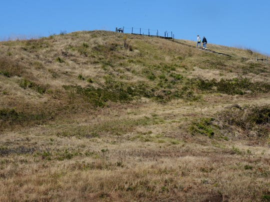 Denis and Mary Beth Morris walk up to the top of the large Mound at Poverty Point State Historic Site.