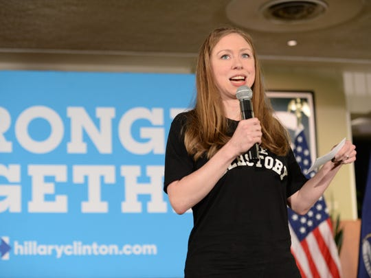 Chelsea Clinton takes the stage at the MSU Union to talk about her mother, Hillary Clinton, on Thursday, Sept. 22, 2016.