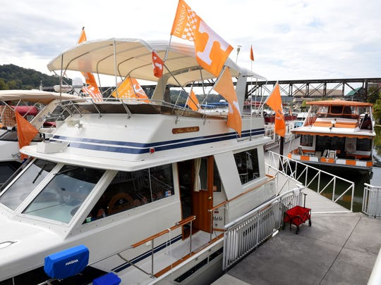 Members of the Vol Navy get ready Thursday, Oct. 13, 2016, for the Tennessee vs. Alabama game Saturday.