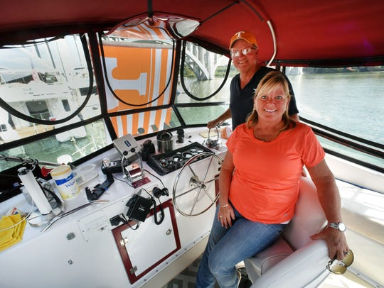 Michael and Cathy Rogers traveled 5,000 miles in their boat the Trawler Life to join the Vol Navy on Oct. 13, 2016.