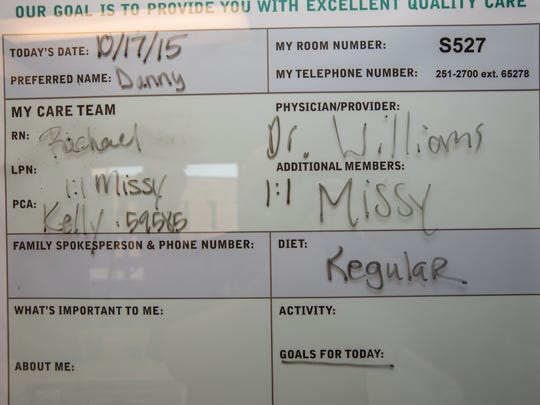 A chart in the hospital room where Danny Hammond was a patient.