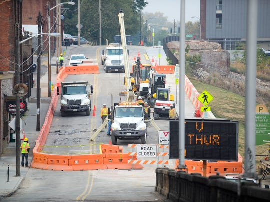 Knoxville Utilities Board workers make infrastructure upgrades on Tuesday, Nov. 8, 2016, on Jackson Avenue. KUB is upgrading water, wastewater, and natural gas lines as part of its Century II infrastructure improvement program.