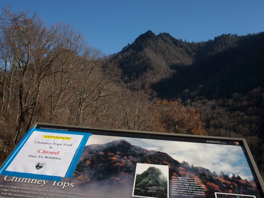 The wildfire-scarred Chimney Tops is pictured Friday,