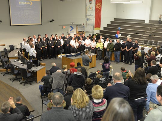 First responders receive a standing ovation during the city's Refelction of the Year Award presentation.