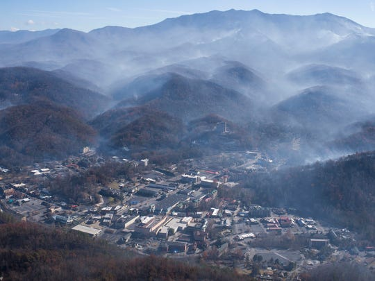 An aerial view shows Gatlinburg the day after a wildfire hit the city on Nov. 29, 2016, in Sevier County.
