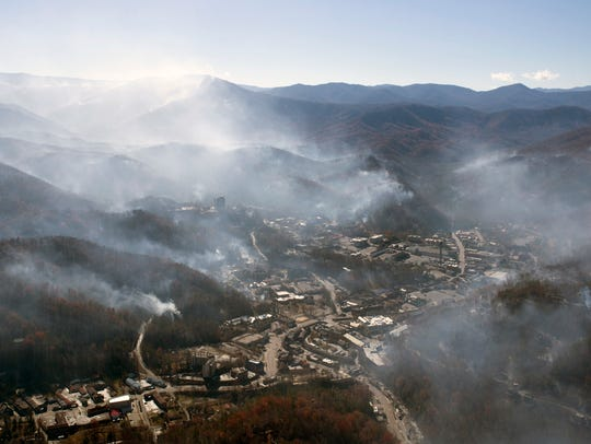 An aerial view shows Gatlinburg the day after a wildfire