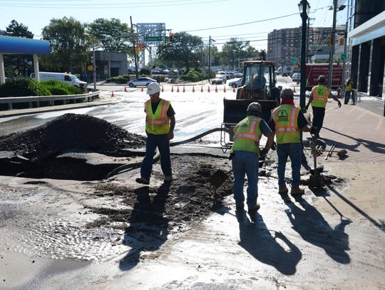A water main break in Fort Lee on Bridge Plaza South