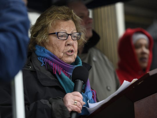 Senate Majority Leader Loretta Weinberg (D-Teaneck) leads the Bergen County Unity rally on the steps of the Bergen County Courthouse in Hackensack, NJ on Sunday, February 12, 2017.