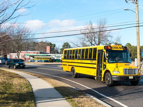 Traffic builds on Carmel Road outside of Mount Pleasant School during dismissal on Tuesday, February 14.