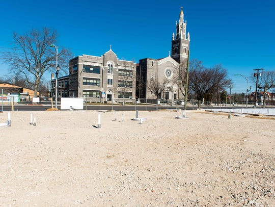 A portion of Landis Square awaits concrete to be poured