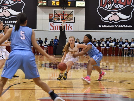 Manogue's Kenna Holt dribbles against Centennial in Friday's 4A championship game.