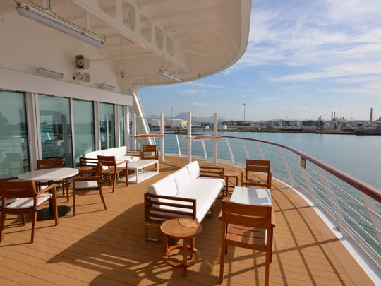 A deck area at the back of Deck 2 on Viking Ocean Cruises'