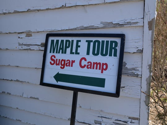 A sign used for the Highland County Maple Festival to help visitors find sugar camps, where maple syrup is made in sugar hosues.