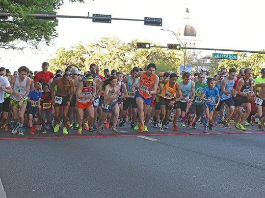 Runners at the starting line for the annual Springtime Tallahassee Festival's 5K and 10 K races downtown April, 1, 2017