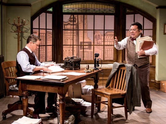 """Neil Brookshire (left) and David Flores try to figure things out in Renaissance Theaterworks' """"The Violet Hour."""""""