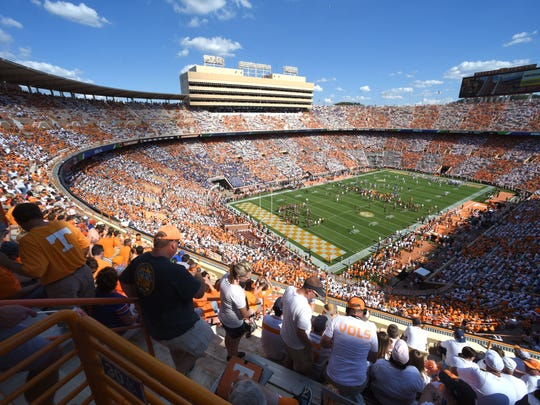 The University of Tennessee football team warms up as fans checker Neyland Stadium orange and white for the Florida game on Saturday, Sept. 24, 2016. (MICHAEL PATRICK/NEWS SENTINEL)