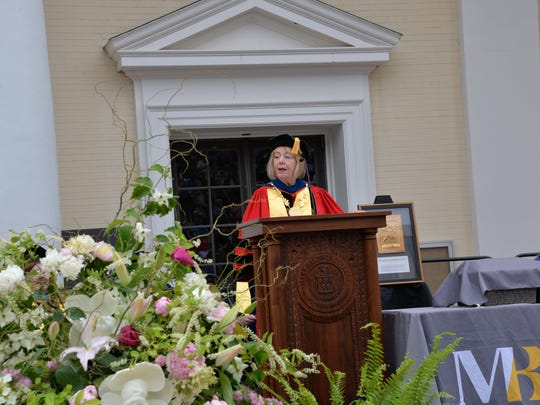 Mary Baldwin University President Pamela Fox speaks