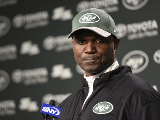 """New York Jets head coach Todd Bowles said this was an """"organizational decision"""" to cut David Harris from the team during a press conference after OTA's  at the Atlantic Health Jets Training Center in Florham Park, NJ on Tuesday, June 6, 2017."""