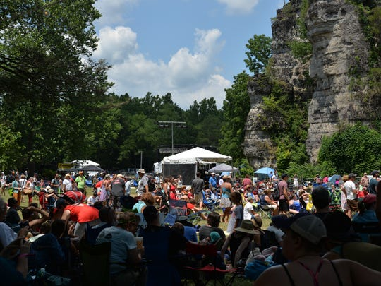 Crowds gather — in the sun and the shade — during the Red Wing Roots Music Festival in Mount Solon's Natural Chimneys on Sunday, July 16, 2017. This is the fifth year the festival has been held.