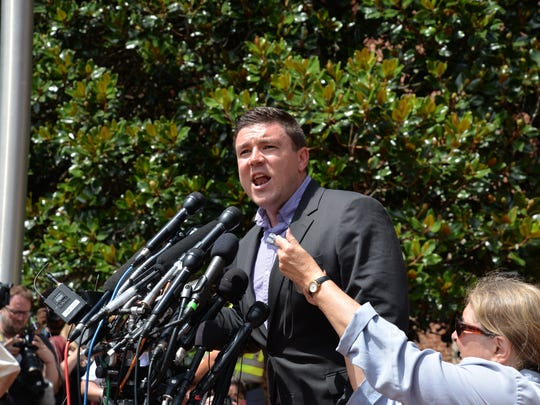 """Unite the Right"" rally organizer Jason Kessler on Sunday, Aug. 13, 2017 during a press conference in front of Charlottesville City Hall."