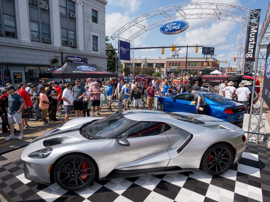 A Ford GT is in display at Mustang Alley in Ferndale.              Photos are of the Woodward Dream Cruise, in Ferndale, August 19, 2017.   (David Guralnick / The Detroit News)