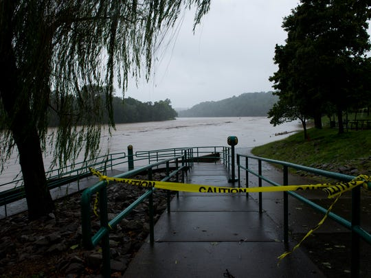 The Riverwalk in Clarksville is blocked off with caution
