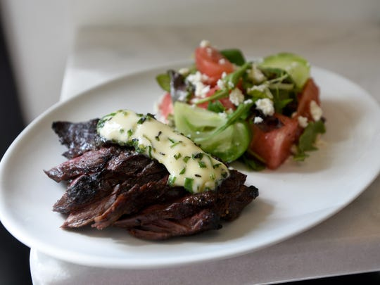 Grilled hanger steak with heirloom tomato-watermelon