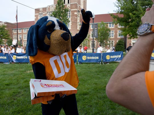 UT mascot Smokey during the SEC Nation show at UT Ayers Hall on Sept. 30, 2017, before the Tennessee vs. Georgia game.