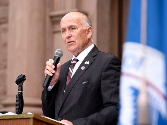 Hackensack Mayor John Labrosse Jr. speaks during the naturalization ceremony in Hackensack on Wednesday.